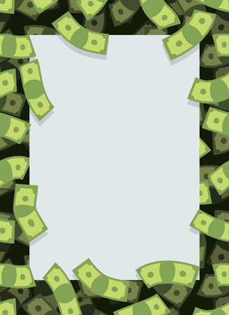 cash flows: Frame out of money. Many dollars flying. Space for text. Cash green background.