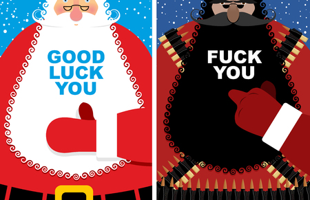 villain: Christmas cards. Good Santa Claus and angry grandfather terrorist with Bandolier. Jolly Santa thumbs up Good luck you. Old man fuck shows villain. Red winter clothes and military uniforms.