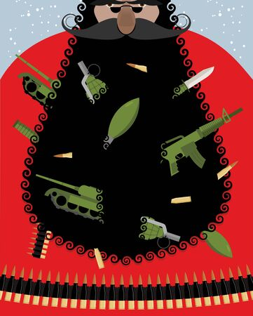 villain: Villain Santa Claus. Grandfather of terrorist with gift. Weapons in beard: grenades and bullets. Knives and bombs. Tank and machine gun cartridge. Blue background with snowfall. Thug with weapon. Old man army