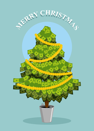 well being: Merry Christmas. MoneyTree. Greeting card with financial well- being. Dollars grow on tree.