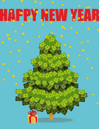 new plant: Christmas tree out of money. Happy new year. Snowfall of coins. Dollars on  tree. Plant Wealth. Illustration