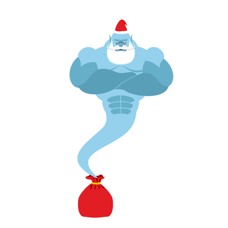 jinn: Genie is out of  bag Santa Claus. Magic spirit with a beard and mustache. Christmas clothes. Strong is fantastic person. Illustration