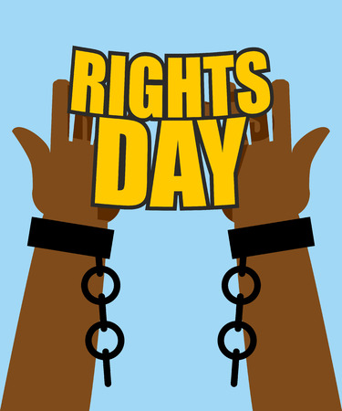 shackle: Human Rights Day. Poster for International Festival. Arm slave with broken shackles. Hands free from chains.
