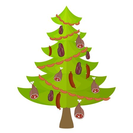 delicacy: Tree meat food and delicacy. Christmas tree decorated with Garland of sausages. Decoration of steak and sausage. Pork and steak. Christmas tree for meat lovers. Sadness vegetarians. Illustration