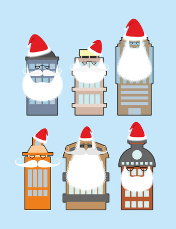 merry chrismas: Set of buildings with beard and mustache Santa Claus. Decorating homes for Christmas. Festive attire for skyscrapers.