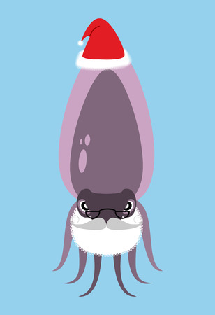 cuttlefish: Santa Claus Cuttlefish. Octopus with beard and mustache. Marine animal in  Christmas hat. Underwater inhabitant wishes you  happy new year.