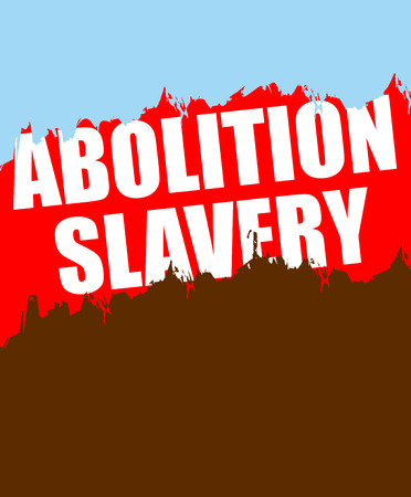 slavery: Abolition of slavery. Poster depicting an abstract blood of slaves and blue sky- symbol freedom.