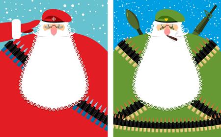 wojenne: Święty Mikołaj Boże Narodzenie Defender. Wojskowy dziadek z brodą i wąsami w odzieży ochronnej. Nowy rok żołnierz w zielonym berecie. Sprzęt wojskowy: automatyczny i karabin maszynowy pasa, pas amunicji. Bold charakter świąteczny jest weteranem walk. Ilustracja