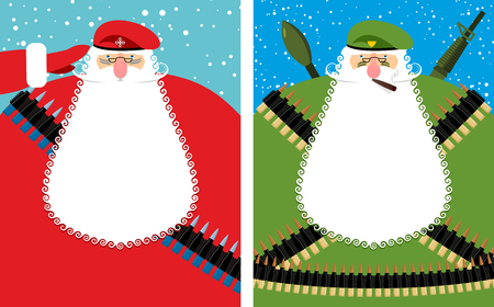 man with gun: Santa Claus Christmas Defender. Military grandfather with beard and moustache in protective clothing. New year soldier in green beret. Military equipment: automatic and machine-gun belt, ammunition belt. Bold festive character is veteran of fighting.