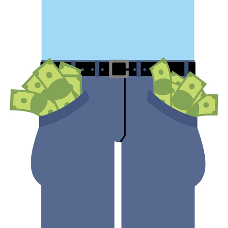 rich man: Pockets many money. Jeans full of cash. Rich man in pants. Dollars are not placed in clothes. Banknotes out of pants.