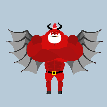 demon: Satan Claus. Devil with beard and mustache. Red demon with horns clothed clothing Santa Claus. Strong scary monster with wings. Christmas red demon.