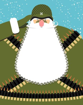 man gun: Military Santa Claus. Old soldier with beard and mustache. Military equipment: machine gun belt. Bold festive character is a veteran of fighting. Good Christmas old man defending Christmas.