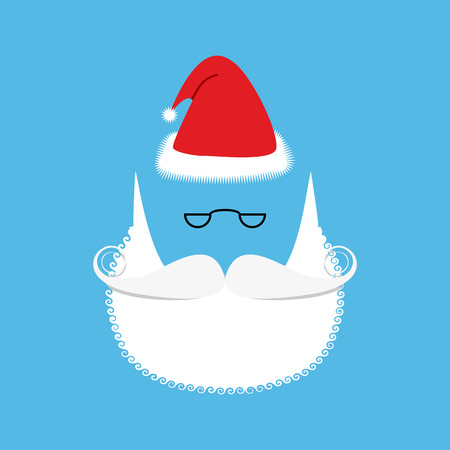 wig: Santa  mustache and beard. Christmas hat. Set for Christmas character. Holiday items for design. White wig.
