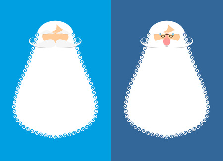 wig: Santa Claus beard and mustache. Wig for Christmas. Face new year character. White old Grandfather Illustration