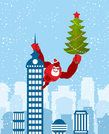red beard: Big Red Gorilla dressed as Santa Claus climbs the building with Christmas tree in their hands. Wild beast with  beard and mustache. Monkey on skyscraper. Monkey is symbol of Chinese new year.