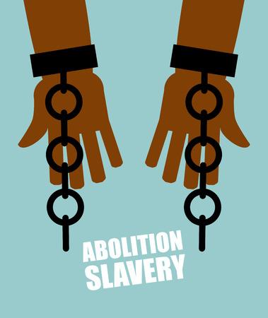 노예 제도 폐지. 깨진 된 체인 손으로 검은 노예. 부서진 족쇄. 깨진 수갑. 오랫동안 기다려온 자유. 경작자의 억압으로부터 해방.