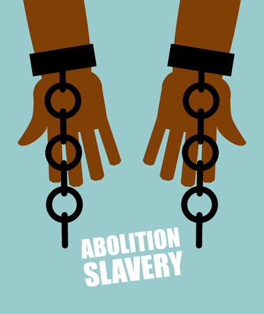 Abolition of slavery. Hands black slave with broken chains. Shattered shackles. Broken handcuffs. Long-Awaited Freedom. Liberation from oppression of  planters. Vettoriali