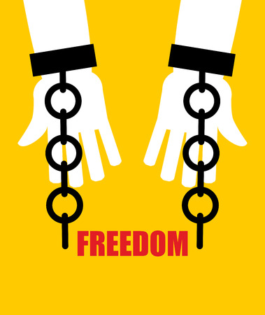 slavery: Freedom. Broken fetters. Liberation from slavery. Broken chain handcuffs. Illustration