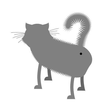 culo: Ass cat. Pet fa un passo indietro. gatto grigio divertente con la coda. Vettoriali