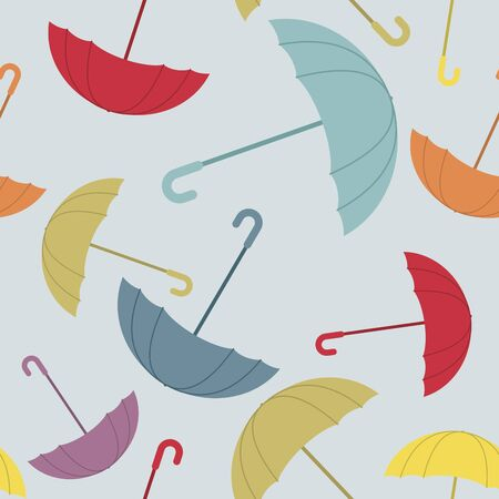 showers: Umbrella seamless pattern. Many of colour opened umbrellas. Cute texture protection from rain. Retro fabric ornament. Illustration