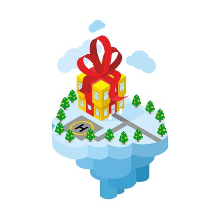 perimeter: Flying residence of Santa Claus. Building gift - secret Office of Santa. Fantastic Christmas Island. Helicopter parking and roads. Snowmen Security. Part of iceberg with snow. HolidayChristmas trees around perimeter.