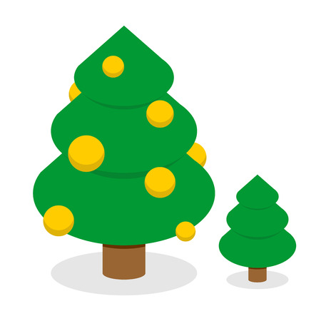 balls decorated: Christmas tree with gold balls. Decorated Holiday tree with Christmas toys. Set of trees: tree with decorations and simple green tree. Attribute for winter holiday: Christmas and new year
