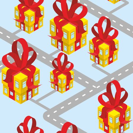 off road: City presents seamless pattern. Building of  gift box with red bow. Background for new year or birthday. Fantastic Cute area of town off  road and home.