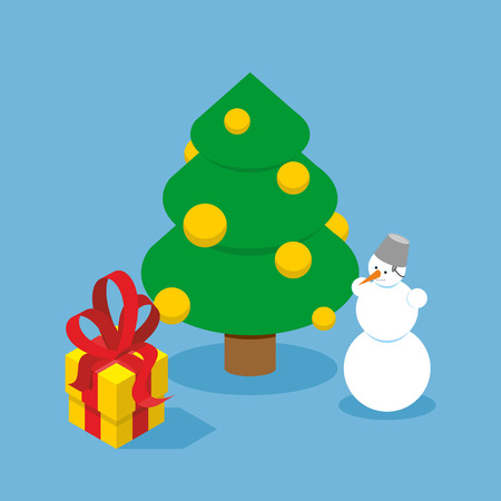 adorned: Christmas Tree and snowman. Gift box. Holiday tree adorned with Golden balls. New year snow character. Yellow box with red bow
