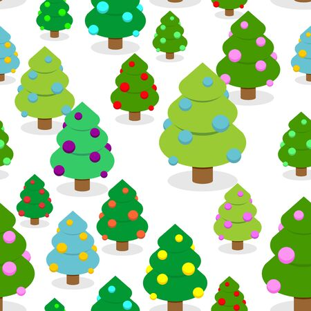 winter tree: Winter Christmas forest seamless pattern. Christmas tree with colored balls. Christmas ornament tree.