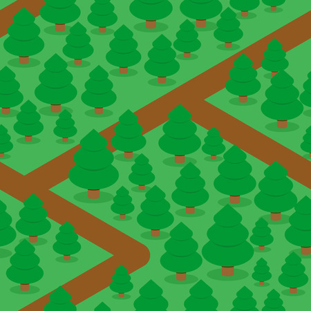 Forest seamless pattern. Spruce thicket natural background. Forest trails and trees. Texture for baby tissue. Illustration