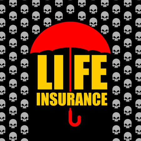 life and death: Life insurance. Protection against accident and death. Umbrella protects from rain of skulls. Concept  Poster for insurance company.