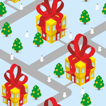 christmas in the city: Gift Christmas city seamless pattern. Fantastic urban district. Gift box offices with red bow. Residents - snowmen and Christmas trees. Unusual buildings. New year Magic town-Christmasburg Illustration