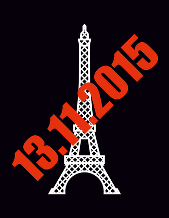 memory loss: 13 November 2015 terrorist attack in Paris. National symbol of France - Eiffel Tower with red text. Illustration