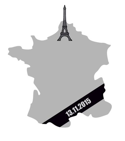bombing: Map of France with  black mourning Ribbon. Mourning and grief for dead in terrorist bombing 13 November 2015.