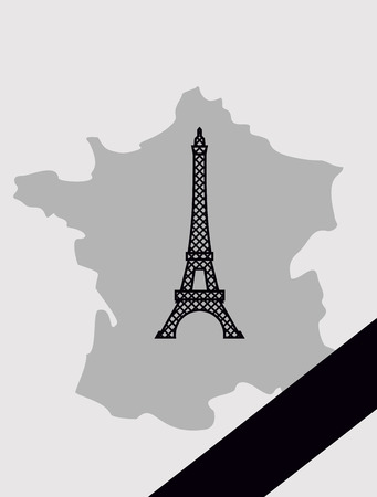 mourning: Map of France with mourning Ribbon. Illustration mourned in act of terrorism. French landmark  Eiffel Tower.