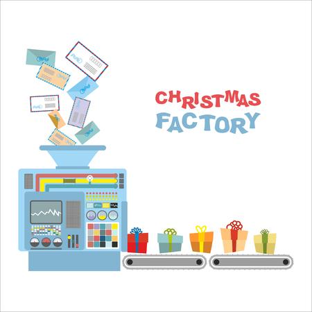 cinta transportadora: Máquina de Navidad. Cartas de procesamiento de los niños los regalos. Clasificación automática de correo entrante para Santa Claus. Cinta transportadora con una hermosa caja de regalo. Vectores