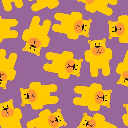 gummie: Yellow bear Mamey seamless pattern. Yellow bear in purple jelly. Cute beast texture for baby tissue.
