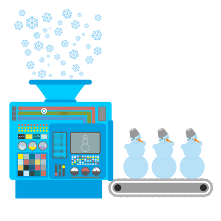 conveyor system: Factory snowmen. Apparatus for producing snow figures. Is  snow into  machine. Funny Christmas machine. Automatic line for snowman. Robotic System Center for designing new year character.