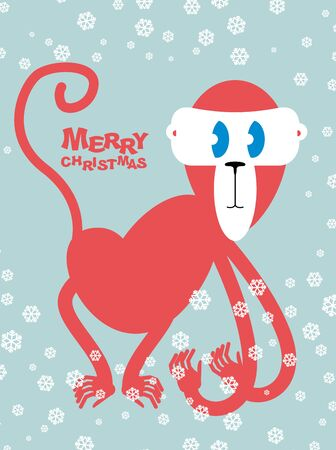 primacy: Happy Christmas. Red monkey symbol of new year. Cute primacy with long arms.