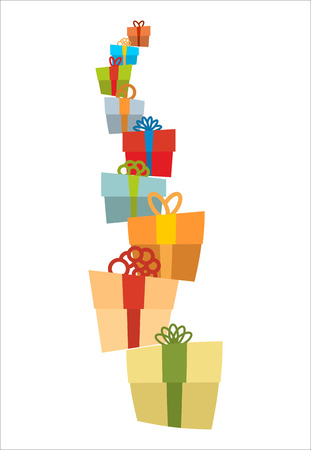 editable: Bunch of gifts. Stack of gift boxes. Tower of gifts with bows. Many holiday boxes. Illustration
