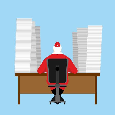 happy men: Santa Claus reads letter. Many  incoming correspondence from children. Big Pile of letters are on table. Christmas jobs before feast. Illustration