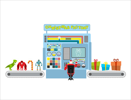 elf cartoon: Christmas factory. Automatic line for production of gifts. Guy Claus operator unattended machines. Machine packs toys for children in holiday boxes. Infographics concept production system for new year.