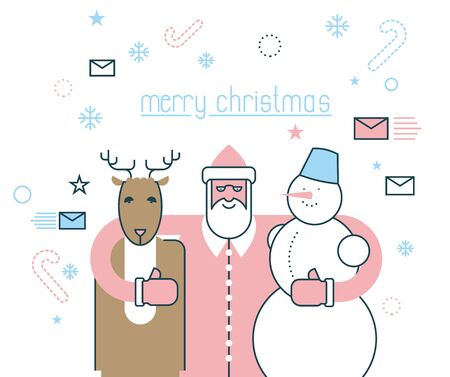 rudolph: Merry Christmas. Santa Claus and his friends. Deer Rudolph and snowman. Flat line style. Concept design of new year.