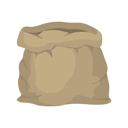 burlap sack: Empty burlap sack. Empty bag. Bag made of cloth. Beige Bag on  white background.