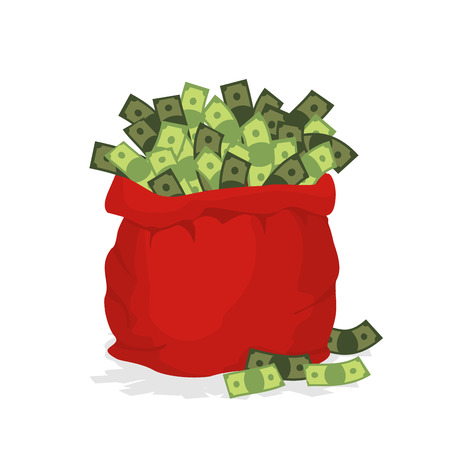 money cartoon: Money bag Santa Claus. Big Red festive bag filled with dollars. Many cash in bag. Illustration for new year and Christmas. Illustration