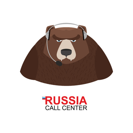 responds: Russia call center. Bear responds to phone calls. Wild animal and handset. National customer service from back support. Traditional Russian call center.