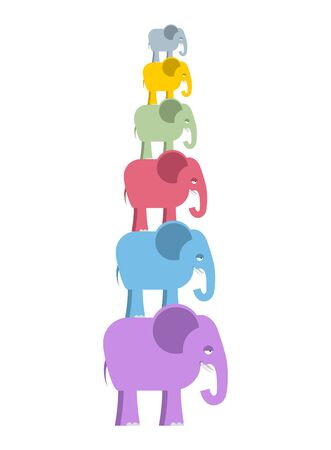 mammals: Pyramid color elephants. Colorful cute animals of jungle. Big and small wild mammals with trunks.