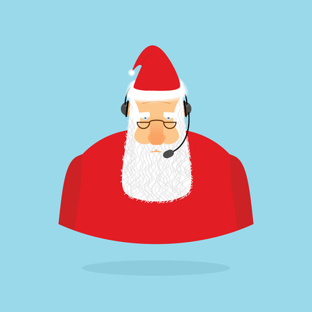 old man portrait: Christmas Call Center. Santa Claus and headset. Santa responds to phone calls. Customer service from back support. New year call center.