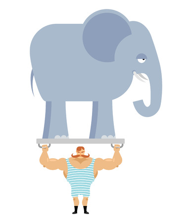 body builder: Ancient athlete and elephant. Vintage circus strongman. Bodybuilder with big moustaches acts in circus. Power room with an animal from jungle. Retro strongman and wild beast. Illustration