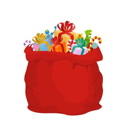 サンタ クロースの贈り物バッグします。大きな赤いお祭り休日バッグ。子供のための多くのギフト: 恐竜とロボット クマとお菓子。ミントのクリス